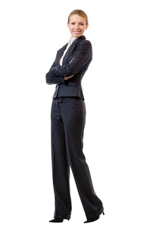 body work: Full body portrait of happy smiling young cheerful business woman, isolated on white background