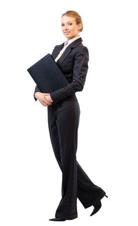 Full body portrait of happy smiling business woman with black folder, isolated on white background