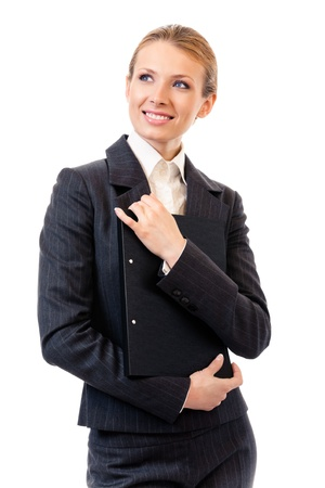 Portrait of happy smiling business woman with black folder, isolated on white background Stock Photo - 11292275