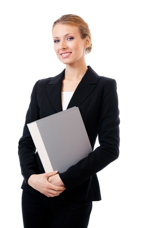 Portrait of young happy smiling business woman with grey folder, isolated over white background photo