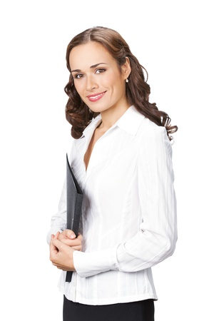 Portrait of happy smiling business woman with black folder, isolated on white background photo