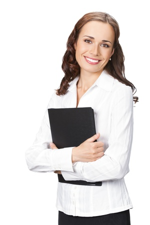 Portrait of happy smiling business woman with black folder, isolated on white background Stock Photo - 11872931