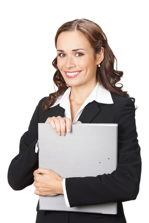 Portrait of happy smiling business woman with grey folder, isolated on white background Stock Photo - 11872950