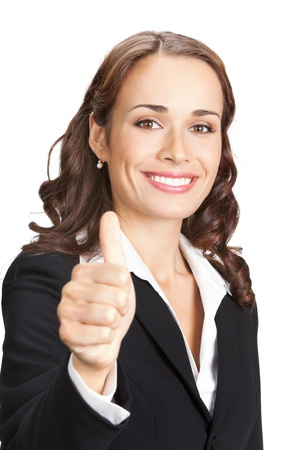 Happy smiling business woman showing thumbs up gesture, isolated on white background Stock Photo - 11872971