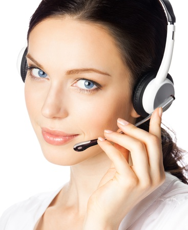Portrait of happy smiling cheerful beautiful young support phone operator in headset, isolated over white background Stock Photo - 12074550