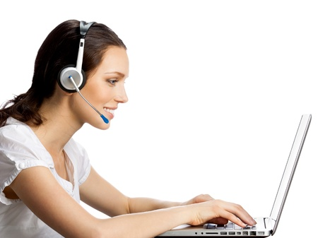 Portrait of happy smiling cheerful young support phone operator in headset with laptop, isolated over white background photo