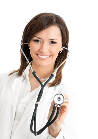Portrait of young happy smiling female doctor with stethoscope, isolated over white background photo
