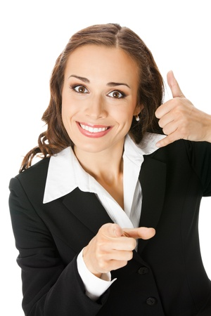 Young happy smiling business woman with call me gesture, isolated over white background photo