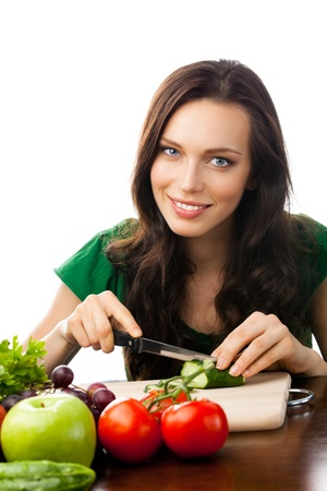 Portrait of happy smiling young woman with vegetarian food, isolated over white background Stock Photo - 12234733
