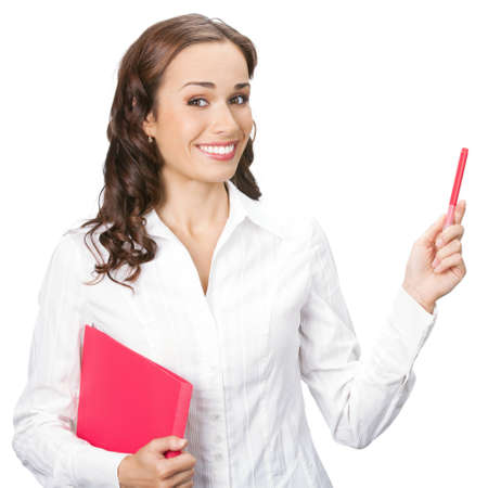 1 young woman only: Happy smiling young beautiful business woman showing blank area for sign or copyspase, isolated over white background