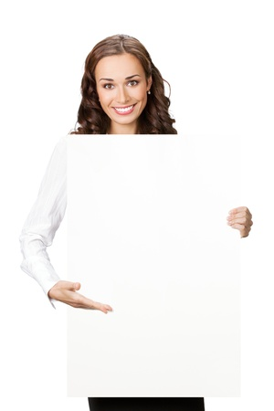 blank area: Happy smiling young business woman showing blank signboard, placard or banner, isolated over white background Stock Photo
