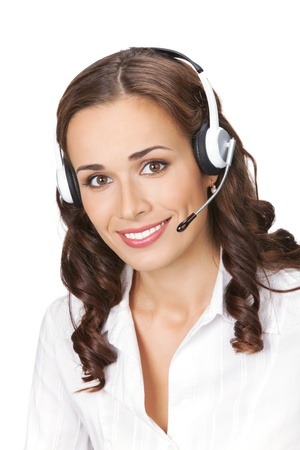 Portrait of happy smiling cheerful beautiful young support phone operator in headset, isolated over white background Stock Photo - 12586513
