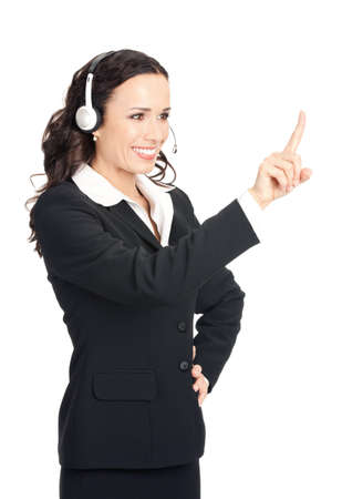 Portrait of happy smiling cheerful customer support phone operator in headset showing something, isolated over white background Stock Photo - 12586556