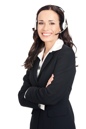 Portrait of happy smiling cheerful beautiful young support phone operator in headset, isolated over white background Stock Photo - 12586585