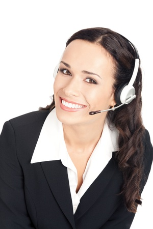 Portrait of happy smiling cheerful beautiful young support phone operator in headset, isolated over white background photo