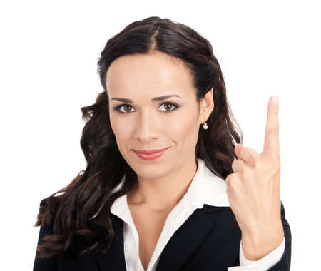Happy smiling young business woman showing one finger, isolated over white background photo