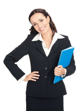 Portrait of happy smiling business woman with blue folder, isolated over white background photo