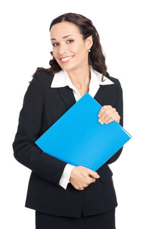 Portrait of happy smiling business woman with blue folder, isolated over white background Stock Photo - 12586578