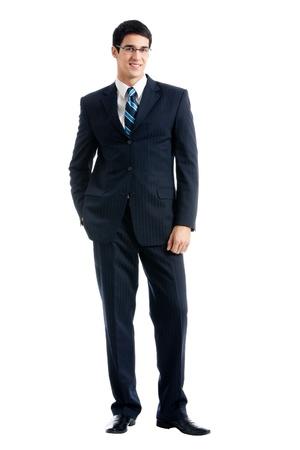 cuerpo entero: Retrato de cuerpo completo de la joven y feliz hombre de negocios alegre sonriente, sobre fondo blanco