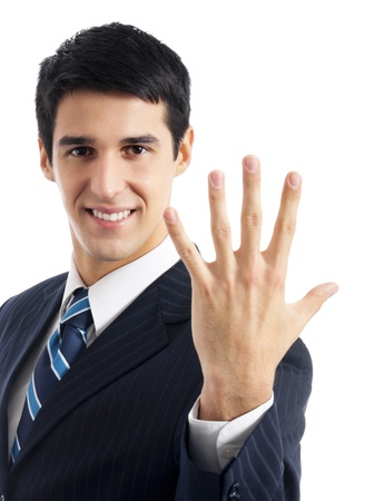 Portrait of happy smiling businessman showing five fingers, isolated on white background photo