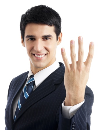 four person only: Portrait of happy smiling businessman showing four fingers, isolated over white background Stock Photo