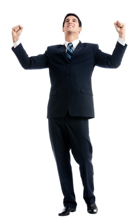 Very happy successful gesturing young business man, isolated over white background photo