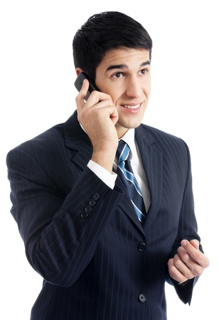 Happy smiling cheerful business man with cellphone, isolated over white background Stock Photo - 12926897
