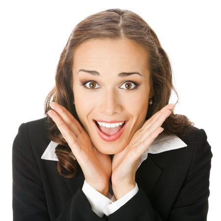 hand over: Portrait of young happy smiling surprised business woman, isolated over white background Stock Photo