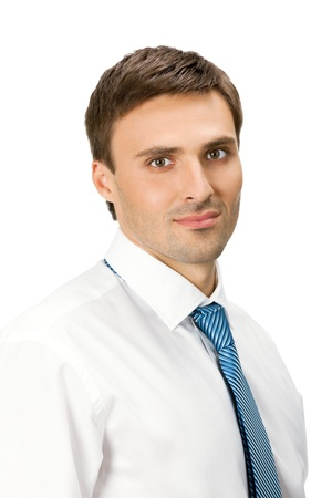 Portrait of young serious business man, isolated over white background photo