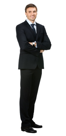 full lenght: Full body portrait of young happy smiling cheerful business man, over white background