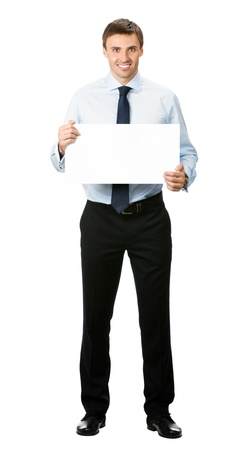 sales executive: Happy smiling young business man showing blank signboard, isolated over white background
