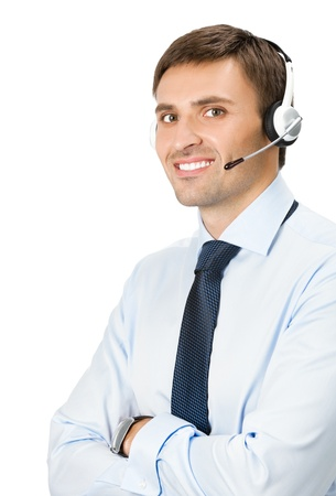 Portrait of happy smiling male customer support phone operator in headset, isolated over white background