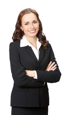 business woman: Portrait of happy smiling young business woman in black suit, isolated over white background