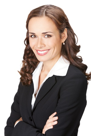 Portrait of happy smiling young business woman in black suit, isolated over white background Stock Photo - 13092150