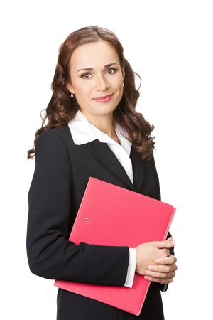 Portrait of happy smiling business woman with red folder, isolated over white background Stock Photo - 13092109