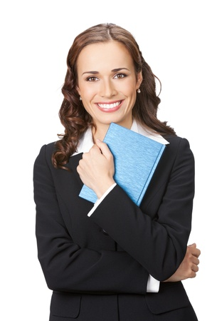 Portrait of happy smiling business woman with notepad or organizer, isolated over white background photo