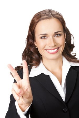 Happy smiling young business woman showing two fingers, isolated over white background Stock Photo - 13092143