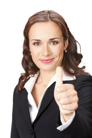Happy smiling business woman showing thumbs up gesture, isolated over white background photo