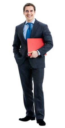 Full body portrait of happy smiling business man with red folder, isolated over white background photo