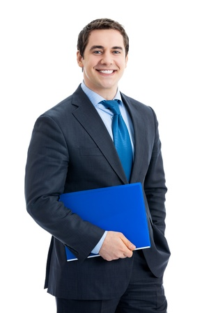 Portrait of happy smiling business man with blue folder, isolated over white background Stock Photo - 13243762