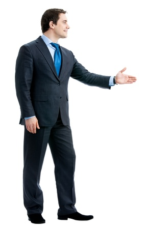 Full body of happy smiling young business man giving hand for handshake, isolated over white background Stock Photo - 13243757