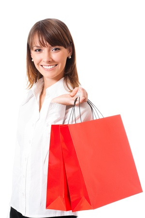 body bag: Young happy business woman with shopping bags, isolated over white background Stock Photo