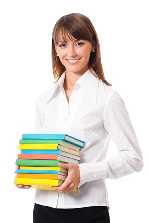 Young happy smiling woman with textbooks, isolated over white background photo