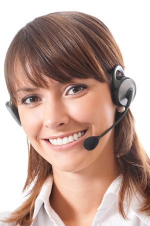 assistance: Portrait of happy smiling cheerful beautiful young support phone operator in headset, isolated over white background