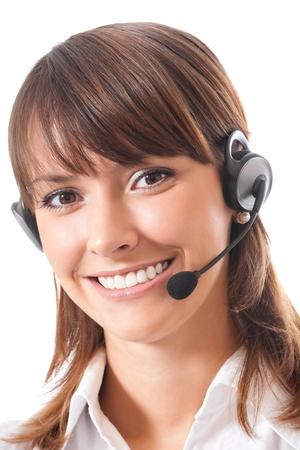 Portret van gelukkige lachende vrolijke mooie jonge ondersteuning telefoon operator in headset, geà ¯ soleerd op witte achtergrond