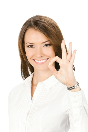 alright: Happy smiling beautiful young business woman showing okay gesture, isolated over white background Stock Photo