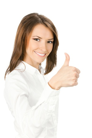 thumbs up gesture: Happy smiling young beautiful business woman showing thumbs up gesture, isolated over white background