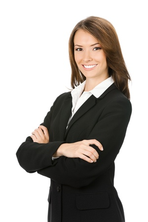 Portrait of young happy smiling business woman, isolated over white background photo