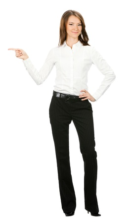 gesturing: Happy smiling young beautiful business woman showing blank area for sign or copyspase, isolated over white background