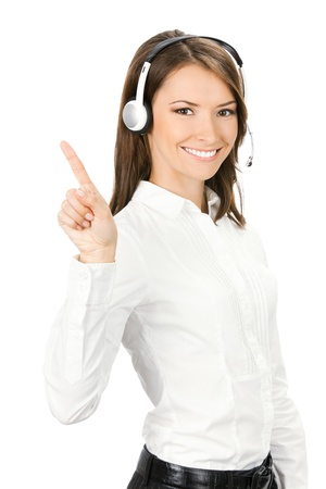 Portrait of happy smiling cheerful customer support phone operator in headset showing something, isolated over white background Stock Photo - 13698548